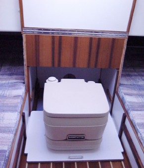Eclipse sliding porta potti storage - Photo of Com-Pac Eclipse sail boat