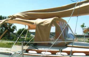 Canvas Country dodger on Com-Pac Eclipse - Photo of Com-Pac Eclipse sail boat