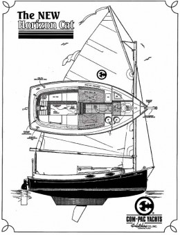 ComPac Horizon Cat line drawing - Photo of Com-Pac Horizon Cat Outboard sail boat