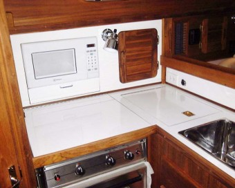 Com-Pac 35 galley with microwave - Photo of Com-Pac 35 sail boat